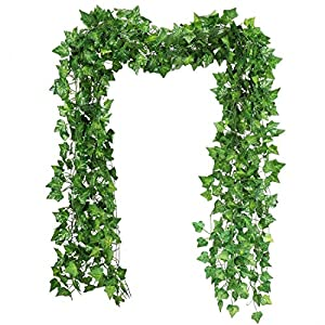 RAUVOLFIA 118 Ft - 12 Pack Artificial Fake Hanging Vine Plants Leaves Greenery Garlands for Wedding, Party, Wall,Patio or Yard Decoration, Perfect as Fence Privacy Screen 106