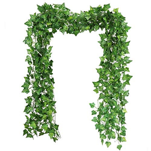 RAUVOLFIA 118 Ft - 12 Pack Artificial Fake Hanging Vine Plants Leaves Greenery Garlands for Wedding, Party, Wall,Patio or Yard Decoration, Perfect as Fence Privacy Screen (Sweet Potato)