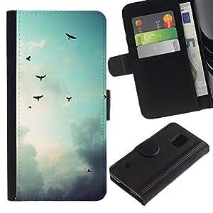 LECELL--Cuero de la tarjeta la carpeta del tirón Smartphone Slots Protección Holder For Samsung Galaxy S5 V SM-G900 -- Aves cielo sombrío --