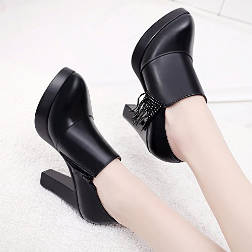 KPHY Winter With Shoes Leather Black Table Shoes Pointed Deep Black Heels High Women'S Forty Leather Waterproof Spring 8Cm Shoes AtSwqAXxr