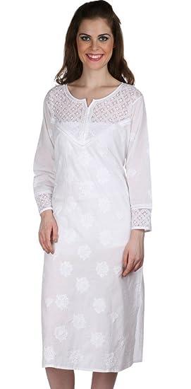 1b5cf54780c Ladies Tops Tunic Kurti Blouse Indian Chikankari Hand Embroidery Cotton Womens  Tunic: Amazon.co.uk: Clothing