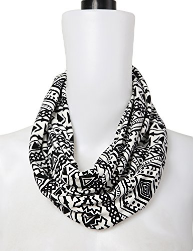 Bentibo Stylish Fashion Floral Light Weight X-large Infinity Scarf for Women White Black