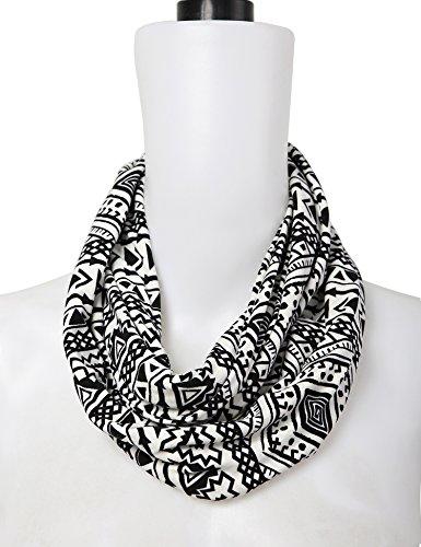 Bentibo Stylish Fashion Floral Light Weight X-large Infinity Scarf for Women White Black