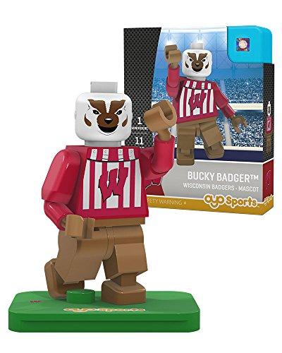 NCAA Wisconsin Badgers Bucky Badger Mascot Gen 2 Mini Figure, Small, Black by OYO