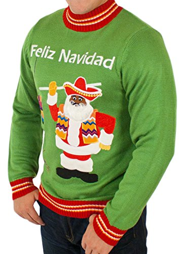 mens feliz navidad ugly christmas sweater in green by festified at amazon mens clothing store