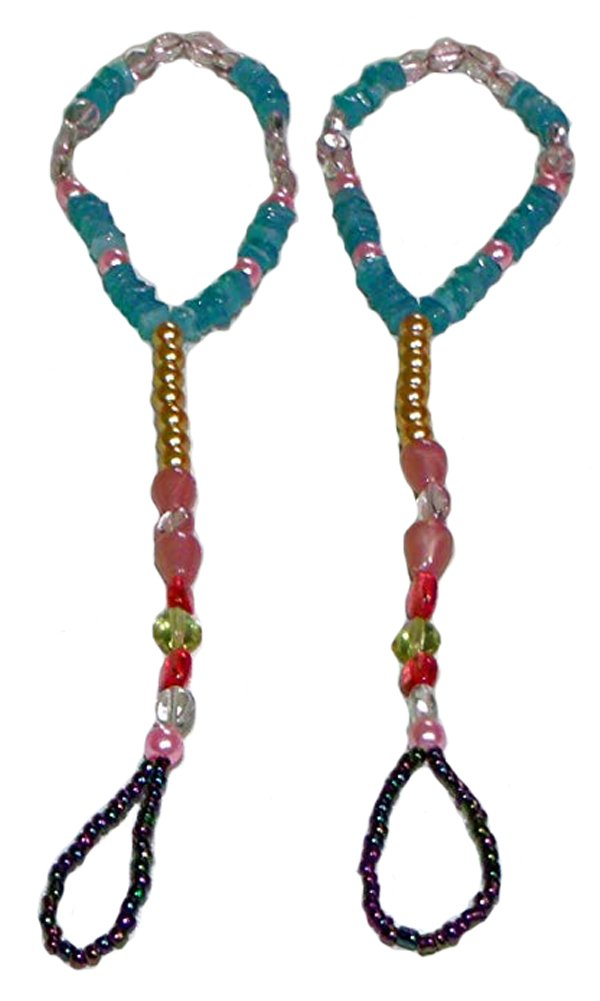 Fashion Jewelry ~ Multi Color Beads Barefoot Sandals Beach and Pool Anklets (Pair() S G04)