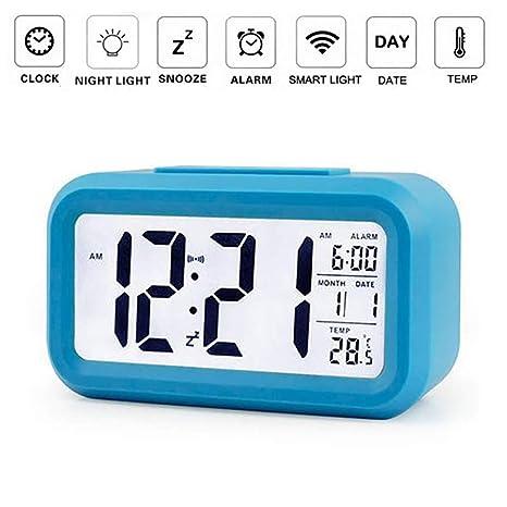OurLeeme Reloj de Alarma Digital, batería Batería de Noche Pantalla LCD Sensor de luz Reloj de Alarma con función de Despertador Activado Luz Nocturna ...