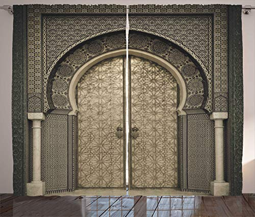 """Ambesonne Moroccan Curtains, Aged Gate Geometric Pattern Doorway Design Entrance Architectural Oriental Style, Living Room Bedroom Window Drapes 2 Panel Set, 108"""" X 84"""", Sepia Black"""