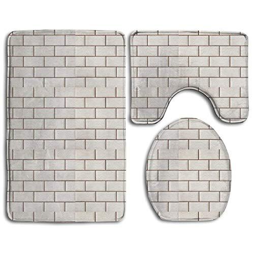 KKblingRen Non-Slip 3 Piece Soft White Metro Tiles Wall Bath Rugs Set Washable Bathroom Rug + Contour Mat + Toilet Seat Cover,Floor Rug for Doormats Tub Shower Room Decorations