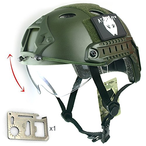 ATAIRSOFT Breathable Tactical Airsoft Fast PJ Helmet w/ Sliding Goggles OD Green by ATAIRSOFT