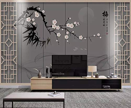 Wall Mural 3D New Chinese Soft Pack Ink Smoke Plum Modern Custom Photo Wallpaper Murals Wall Decor