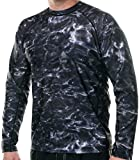 Aqua Design Men Loose Fit Long Sleeve Surf Swim Sun Protection Rash Guard Shirt, Black Water, 4XL