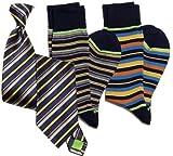 Stanley Lewis Men's Striped Tie & Sock Set (Navy Blue)