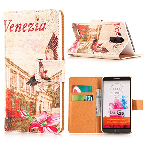 Lg G3, Designer Leather Wallet Folio Stand Card Slots Case Cover for Lg G3 (Venice)