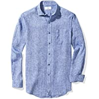 Buttoned Down Men's Classic Fit Spread-Collar Linen Sport Shirt With Pocket
