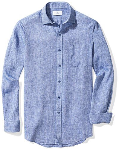 (BUTTONED DOWN Men's Classic Fit Spread-Collar Dress Casual Shirt, Blue Chambray, S 32/33)