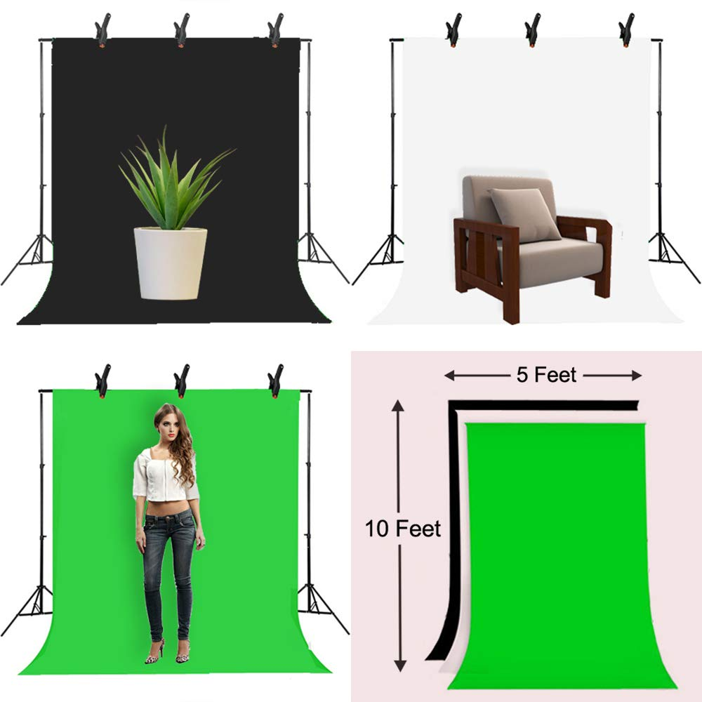 Upland 33-Inch 2 Umbrella Lights with Backdrop System, for Photo Photography, Video Studio Lighting, 1 Backdrop Support Stand (6.6x6.6 Feet), 3 Backdrops (5.4x 10 Feet) by Upland (Image #4)