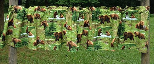 Rod Lodge Drapes Pocket (Scenic Wildlife Bear Family Mountain River Woodland Cabin Lodge Green Valance)