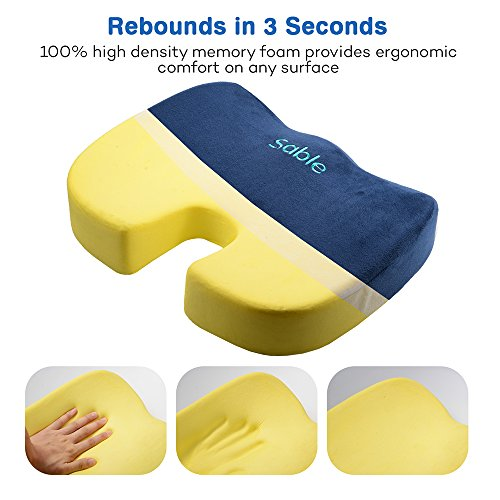 Sable Coccyx Orthopedic Memory Foam Seat Cushion Office Chair Pad Car Driver Seat Pillow for Back Pain Relief and Sciatica and Tailbone Pain, 3.15 Inch Thickness