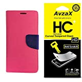 Avzax Flip Cover With Magnetic Closure (Pink) with Tempered Glass For Micromax Canvas Amaze 4G Q491