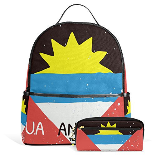 Distressed Antigua And Barbuda Flag Unisex Canvas School College Student Backpack Laptop Bags Rucksack Casual Daypack with Pencil Case