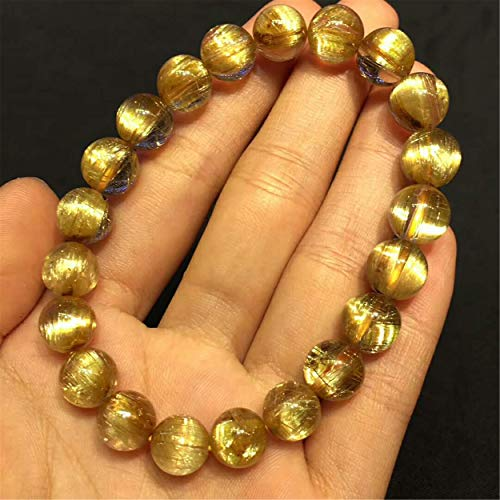 LiZiFang Natural Golden Titanium Rutilated Quartz Crystal Round Bead Bracelet 9.5mm Certificate AAAAA