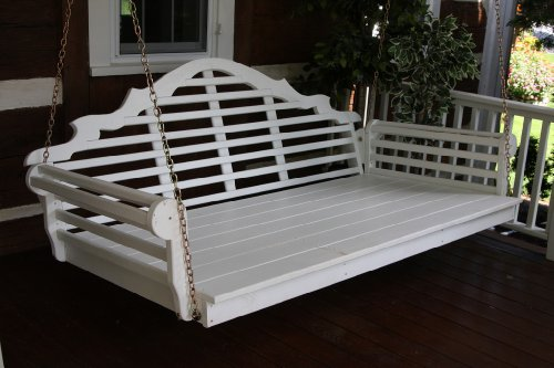Outdoor 4' Marlboro Swing Bed - Oversized Porch Swing - PAINTED- Amish Made USA -White