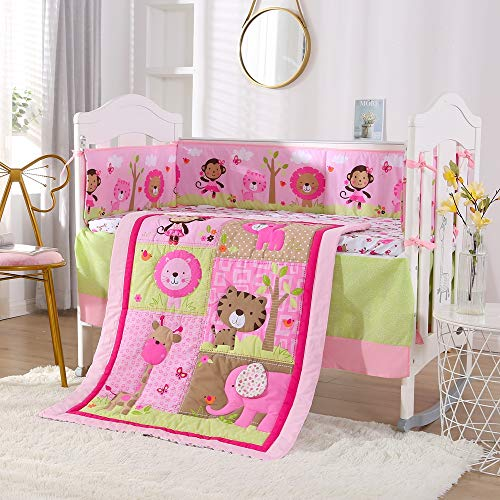 Wowelife Pink Baby Crib Bedding 7 Piece Animal Elephant Theme Nursery Crib Bedding Set(Pink A)