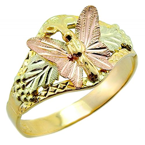 Diamond-Cut Butterfly Ring, 10k Yellow Gold, 12k Green and Rose Gold Black Hills Gold Motif, Size 7 (Embellished Ring Butterfly)