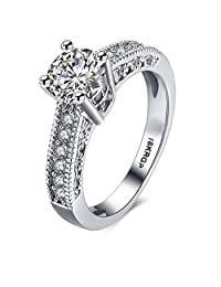 Round Cut Stone 18K White Gold Plated Stainless Steel Micro Paved Solitaire Engagement Wedding Band Ring