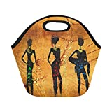 InterestPrint Vintage African Woman Lady Reusable Insulated Neoprene Lunch Tote Bag Cooler 11.93'' x 11.22'' x 6.69'', Retro Ethnic Africa Fashion Portable Lunchbox Handbag for Men Women Adult Kids