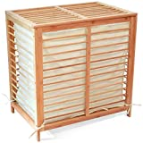 Deluxe Bamboo Hamper with 2 Separate Compartments for Easy Sorting.
