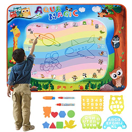 "TRIEtree Aqua Magic Mat, Water Drawing Painting Doodle Mat, Educational Toy and Birthday Gifts for Kids Boys Girls Age 2/3/4/5/6 Years Old - Large Size 40"" x 28"""