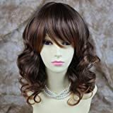 NEW Wavy Long Brown mix Auburn LADIES Off Center wigs