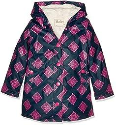 Hatley Little Girls\' Sherpa Lined Splash Jacket, Blue, 6