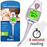 Medical Thermometer for Oral, Rectal and Axillary Use - Fast 8 Second Readings - Flexible Tip - FeverGlo by Revieta