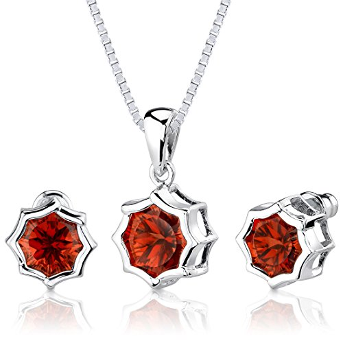 Created Padparadscha Sapphire Pendant Earrings Set Sterling Silver Rhodium Nickel Finish 10.25 Carats -