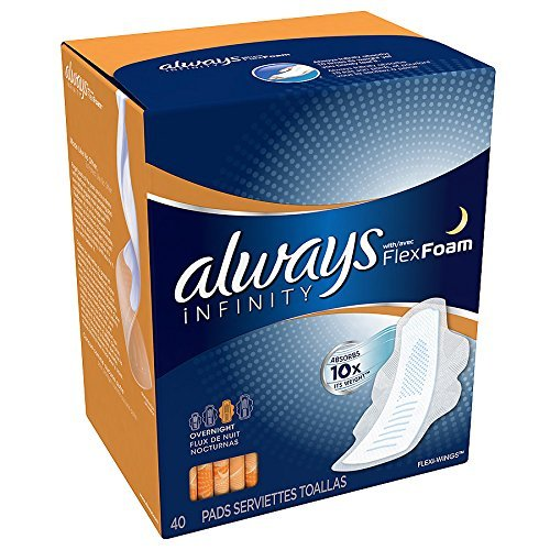 Always Infinity Pads with Wings, Overnight, 40 Count ()