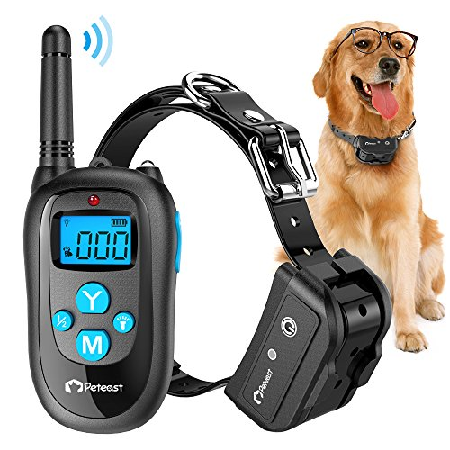 Peteast Remote Dog Training Collar, Rechargeable and Waterproof Electronic Dog Trainer Shock Collar with Beep, Vibration, and Shock for All Size Dogs (10Lbs - 100Lbs), 1000ft Range