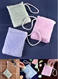 Image: Terry Soap Holder Sponges Set of 3 by EasyComforts - Terrycloth bath sponges turn any bar of soap or soap slivers into an easy-grip soap on a rope