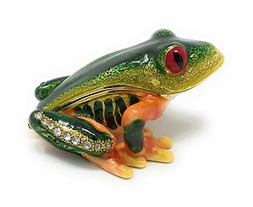 Mini Accents Frog - Kubla Crafts Enameled Red-Eyed Tree Frog Mini Trinket Box, Accented with Austrian Crystals