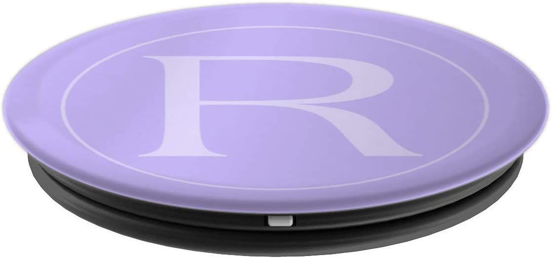 Grey Letter R Initial Monogram Lavender Purple Lilac PopSockets Grip and Stand for Phones and Tablets