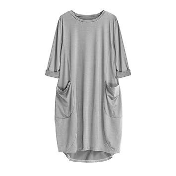 Vestido de mujer de lino, de manga corta, bohemia, estilo ...