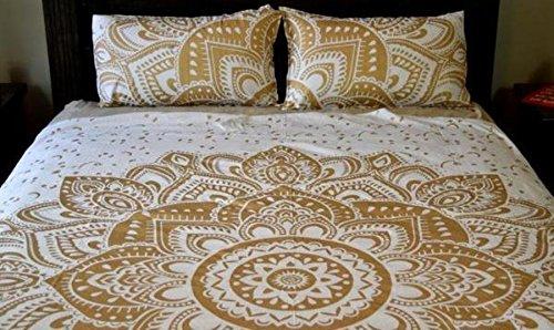 Sophia Art Indian Ombre Mandala Queen Size Comforter Hippie Boho Cotton Doona Duvet Cover Indian Comforter Mandala Hippie Bohemian Queen Quilt Cover Set ' (Golden)