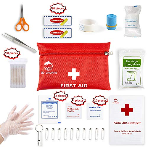 (Small Travel First Aid Kit - 76 Piece Clean, Treat and Protect Most Injuries,Ready for Emergency at Home, Outdoors, Car, Camping, Workplace, Hiking.)