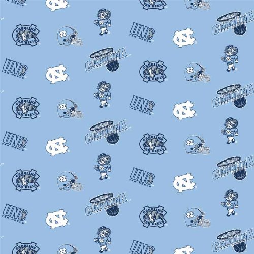 University of North Carolina Tar Heels Polyester Fleece Fabric, Blue & White - Sold By the Yard