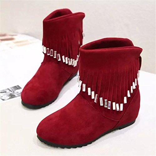 Botas Mujer,Ouneed ® Las mujeres de moda mantienen caliente borla botas invierno raquetas Rojo