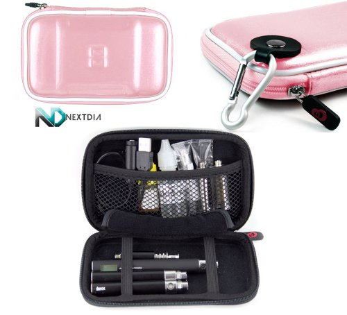 E-Cig Electronic Cigarette Vaporizer CASE Carrying Travel Semi-Hard Case + Carabiner Hook for Keys - Baby Pink + NextDia ™ Velcro Cable Strap.