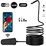 Wifi Endoscope,Snake Camera,Endoscope for IOS&Android,Borescope Waterproof IP68 Inspection Camera with Hook Magnet Side View Mirror,Carrying Case Bag,Black 16.5Ft