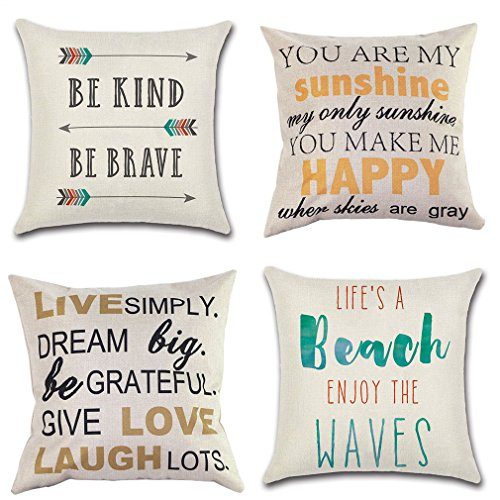 PSDWETS Home Decor Be Kind Be Brave Arrows Pillow Covers Set of 4 Cotton Linen Beach Decor Throw Pillow Case Cushion Cover 18 X 18